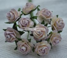 1.5cm LIGHT LILAC IVORY Mulberry Paper Roses
